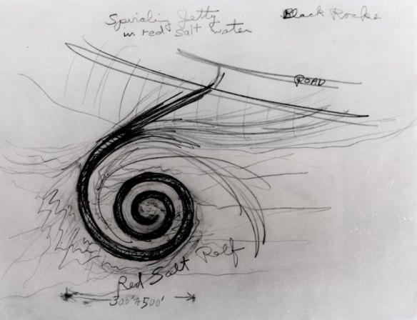 il disegno della Spiral Jetty di Robert Smithson